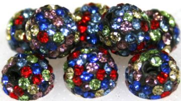 10mm Multi-coloured 115 Stone  Pave Crystal Beads- Half Drilled PCBHD10-115-041